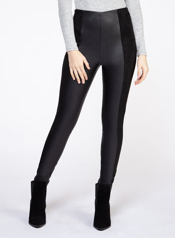 DEX CLOTHING LADIES FAUX LEATHER PANEL BLACK LEGGING
