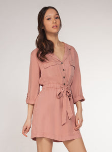 DEX CLOTHING LADIES 3/4 SLEEVE OLD ROSE WASH SHIRT DRESS W/BELT