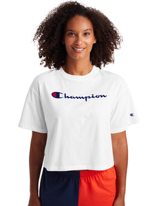 CHAMPION LADIES THE CROPPED WHITE TEE