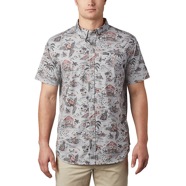 COLUMBIA MENS RAPID RIVERS GREY LOST IN PARADISE SS SHIRT