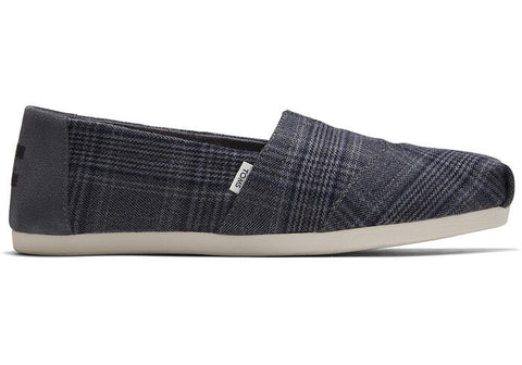 TOMS LADIES CLASSIC CHARCOAL PLAID SHOE