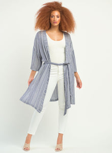 DEX LADIES TEXTURED STRIPE BELTED KIMONO