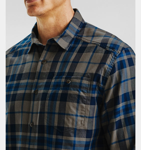 UNDER ARMOUR MENS TRADESMAN FLANNEL BROWN UMBER LS TSHIRT
