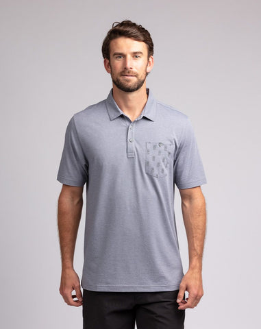 TRAVIS MATHEW MENS CAN CAN HEATHER QUIET SHADE GOLF SHIRT
