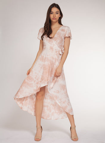 DEX CLOTHING LADIES HI-LOW BLUSH TIE DYE DRESS