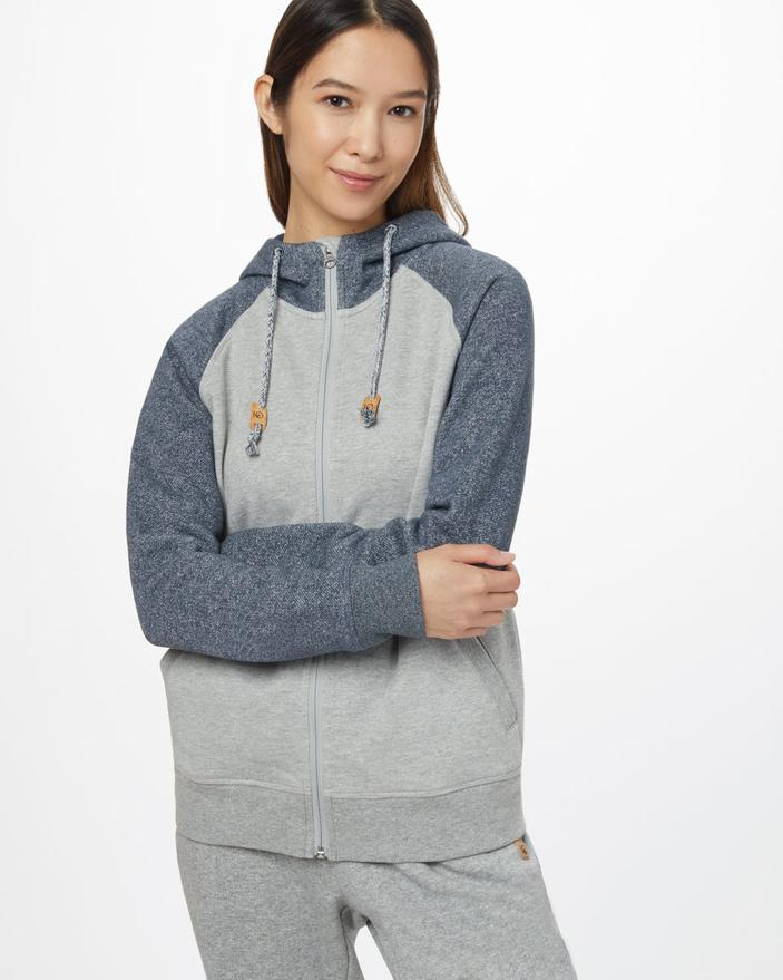 TEN TREE LADIES BURNEY ZIP DARK OCEAN HI RISE GREY HOODIE