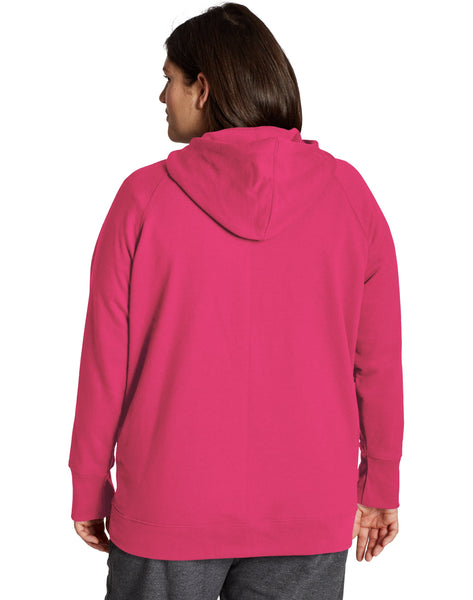 CHAMPION LADIES PLUS POWERBLEND SCRIPT & C LOGO DEEP RASPBERRY HOODIE