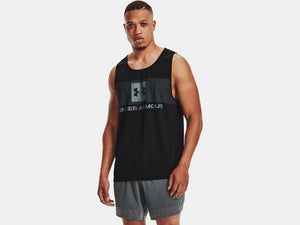 UNDER ARMOUR MENS TECH TANK GRAPHIC BLACK TANK