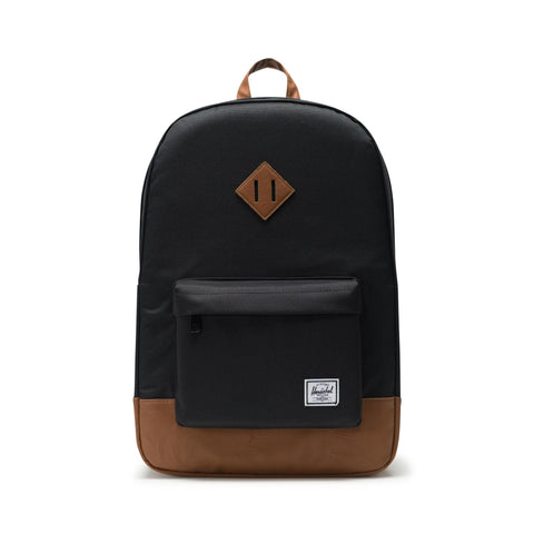 HERSCHEL HERITAGE BLACK/TAN SYNTHETIC LEATHER BACKPACK