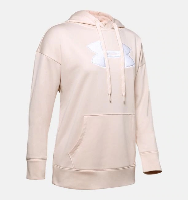 UNDER ARMOUR LADIES FLEECE CHENILLE LOGO APEX PINK LIGHT HEATHER HOODIE