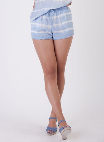 DEX CLOTHING LADIES FRAYED HEM BABY BLUE TIE DYE SHORT