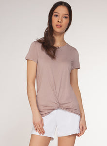 DEX CLOTHING LADIES FRONT KNOT TAUPE TSHIRT