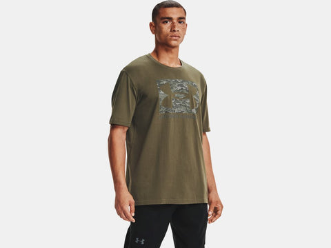 UNDER ARMOUR MENS ABC CAMO BOXED LOGO VICTORY GREEN TSHIRT