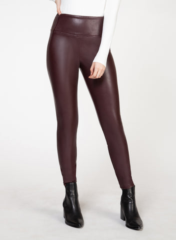DEX CLOTHING LADIES HIGH WAISTED FAUX LEATHER BORDEAUX LEGGING
