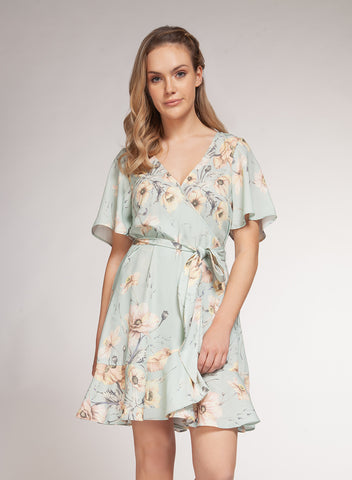 DEX CLOTHING LADIES MINT VINTAGE FLORAL WRAP DRESS