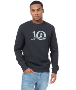 TEN TREE MENS LS REFLECT TEN METEORITE BLACK HEATHER CREWNECK SWEATER