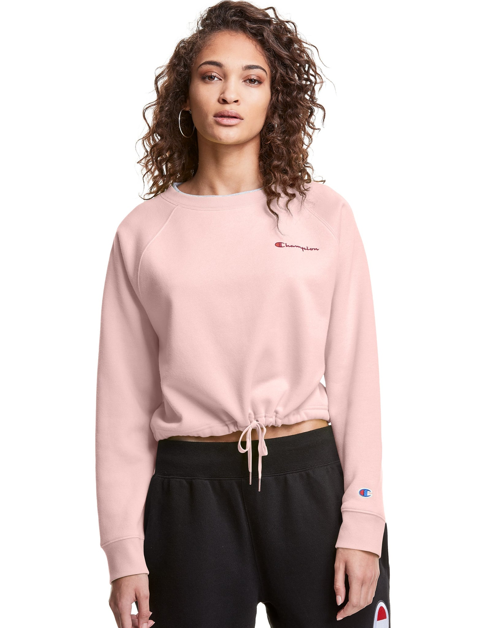 CHAMPION LADIES CAMPUS FLEECE CROPPED HUSH PINK CREWNECK SWEATER