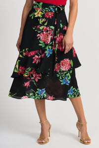 JOSEPH RIBKOFF LADIES BLACK MULTI FLORAL SKIRT