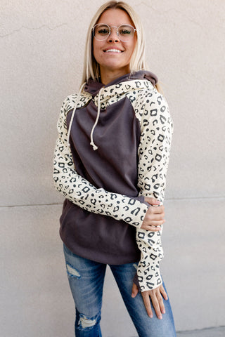 AMPERSAND AVE LADIES GONE WILD CHARCOAL LEOPARD DOUBLEHOOD HOODIE