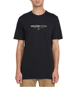 VOLCOM MENS CLOCK WORKER BLACK TSHIRT