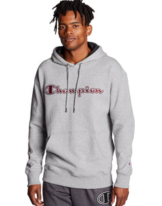CHAMPION MENS CHAINSTITCH OUTLINE LOGO POWERBLEND FLEECE OXFORD GREY HOODIE