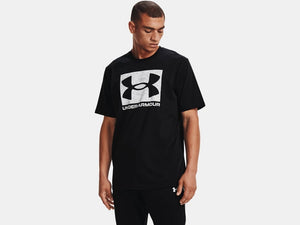 UNDER ARMOUR MENS ABC CAMO BOXED LOGO BLACK TSHIRT