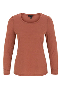 TRIBAL LADIES LS CREW NECK CINNAMON TOP