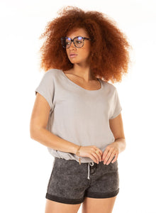 DEX CLOTHING LADIES WAFFLE DRAWSTRING HEM MED GREY HEATHER TSHIRT