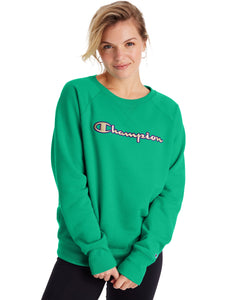 CHAMPION LADIES POWERBLEND APPLIQUE GREEN ALIVE CREWNECK SWEATER