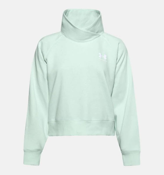 UNDER ARMOUR LADIES RIVAL FLEECE WRAP NECK SEAGLASS BLUE HOODIE