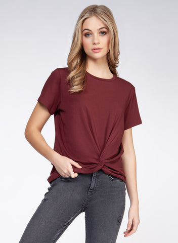 DEWX CLOTHING LADIES SS FRONT TWIST OXBLOOD TSHIRT