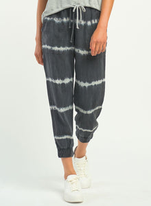 DEX CLOTHING LADIES TIE DYE STRIPE BLACK JOGGER