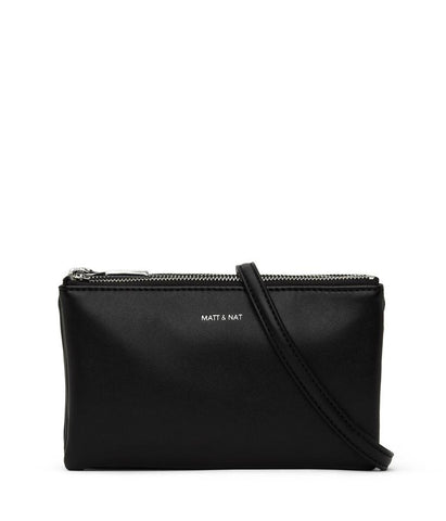 MATT & NAT LADIES TRIPLET LOOM BLACK SHINY NICKEL HANDBAG