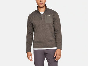 UNDER ARMOUR MENS SPECIALIST MAVERICK BROWN HENLEY SWEATER