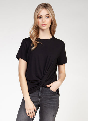 DEX CLOTHING LADIES SS FRONT TWIST BLACK TSHIRT
