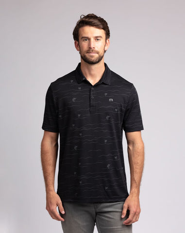 TRAVIS MATHEW MENS THROUGH BEING COOL BLACK GOLF SHIRT