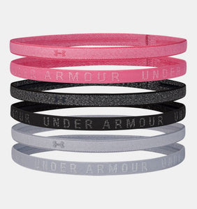 UNDER ARMOUR LADIES 6PK HEATHERED MINI PINK LEMONADE/GREY HEADBANDS