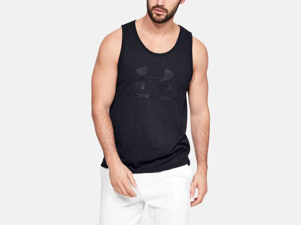 UNDER ARMOUR MENS SPORTSTYLE LOGO BLACK TANK