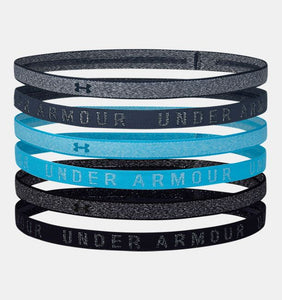 UNDER ARMOUR LADIES 6PK HEATHERED MINI MECHANIC BLUE HEADBANDS
