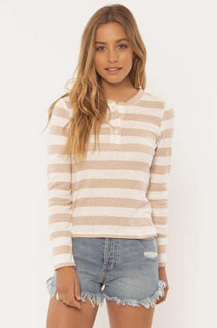 SISSTREVOLUTION LADIES PLAYIN GAMES KNIT LS TAN TOP