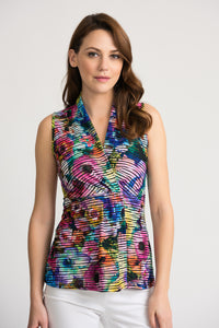 JOSEPH RIBKOFF LADIES BLACK/MULTI SLEEVELESS TOP