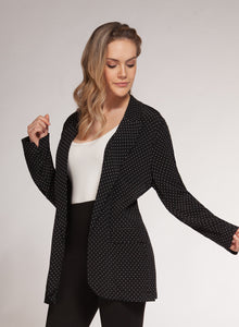 DEX CLOTHING LADIES BLACK DOT PRINT BLAZER