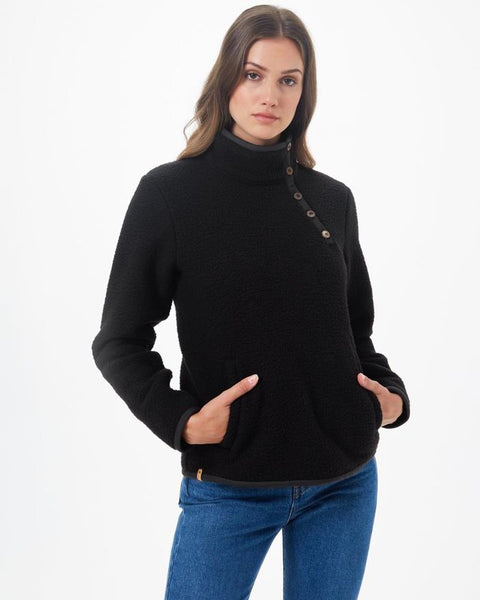 TEN TREE LADIES ECOLOFT KALUCHHA METEORITE BLACK FLEECE SWEATER