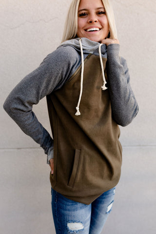 AMPERSAND AVE LADIES CAMPSITE OLIVE GREY DOUBLEHOOD HOODIE