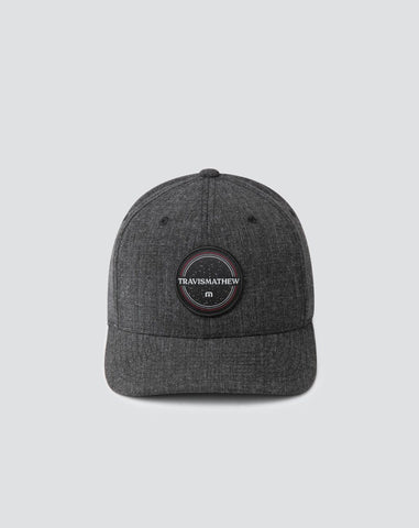 TRAVIS MATHEW MENS BOSTON SIDECAR HEATHER BLACK FLEXFIT HAT