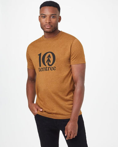 TEN TREE MENS CLASSIC LOGO RUBBER BROWN HEATHER TSHIRT