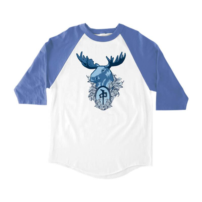RDS MENS 3/4 SLEEVE BANGER MOOSE WHITE/ROYAL TSHIRT
