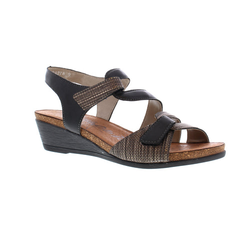 REMONTE LADIES R4454-03 BLACK COMBINATION SANDAL