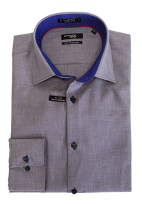 LEO CHEVALIER MENS GRAPE SHAKE FITTED MICRO POLY DRESS SHIRT