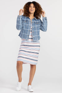TRIBAL LADIES BLUE CHECK BOXI JEAN JACKET W/FRAYED HEM
